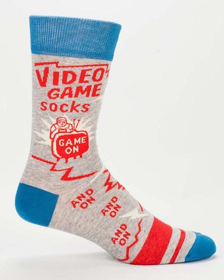 mens video game socks novelty blue red crew stocking stuffer gamer dad boyrfriend husband guy gift
