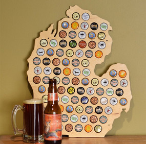 michigan beer cap map trap great gift for beer lover dad boyfriend husband father