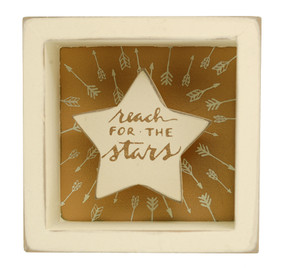 reach for the stars inspirational gift young girl teen graduation box sign ivory gold whimsical