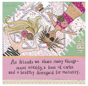 As friends we share many things-most notably, a love of carbs and a healthy disregard for maturity cute girly funny hilarious fridge refrigerator magnet gift whimsical