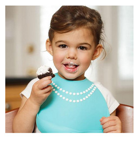 breakfast at moms tiffany blue silicone baby bib cute great shower gift baby girl necklace