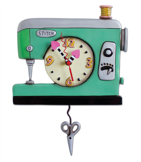 stitch sewing machine pendulum clock seamstress crafter gift whimsical cute home decor