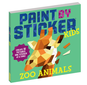 paint by sticker zoo animals kids book creative art no mess