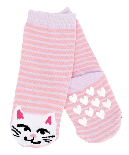 kids animal cat socks kitty pet pink purple stripe stocking stuffer little girl non skid sole warm