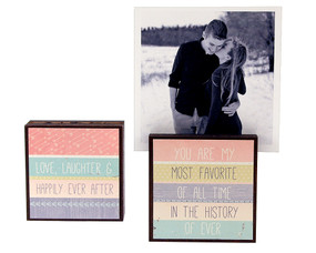 love laughter happily ever after photo frame block whimsical wedding couple boyfriend girlfriend husband wife