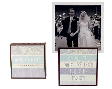 mr mrs wedding engagement couple photo block frame whimsical cute gift for newlyweds reversible quote saying sentiment