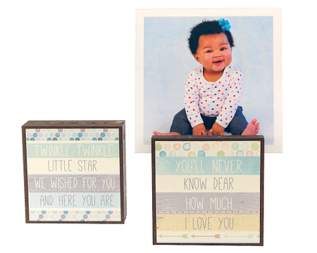 twinkle twinkle baby kids toddler photo frame block whimsical reversible quotes sayings