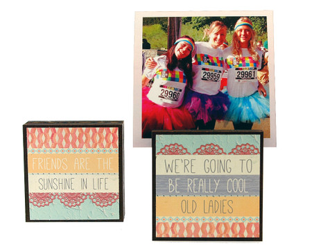 cool old ladies photo frame block whimsical gift for girlfriend reversible quote sentiment