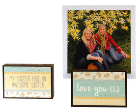 love you sis my sister has an awesome sister photo frame block whimsical gift reversible quote sentiment holds multiple photos