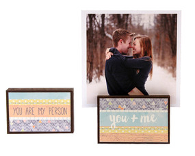 you and me boyfriend girlfriend husband wife photo frame block whimsical gift reversible quote sentiment holds multiple photos