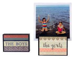 the girls the boys kids photo frame block whimsical gift reversible quote sentiment holds multiple photos