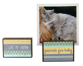 i love my human favorite fur baby photo frame block whimsical gift reversible quote sentiment holds multiple photos pet cat dog kitty cute valentines day