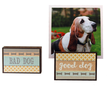 good dog bad photo frame block whimsical gift reversible quote sentiment holds multiple photos pet