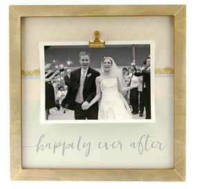 happily ever after  large clip frame wedding shower gift handmade newlyweds anniversary custom personalized