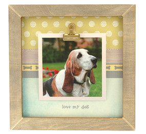 love my dog rustic clip frame whimsical  handmade usa custom personalized instagram photo pet