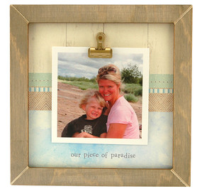 our piece of paradise rustic clip frame whimsical mothers day gift handmade usa custom personalized baby kids little boy girl toddler instagram photo vacation beach summer