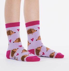 cute hedgehog socks kids little girl stocking stuffer gift pink purple hearts whimsical easter basket goodies