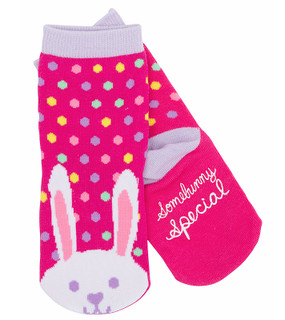 kids animal bunny rabbit socks polka dot pink purple stocking stuffer little girl non skid sole warm easter goodies