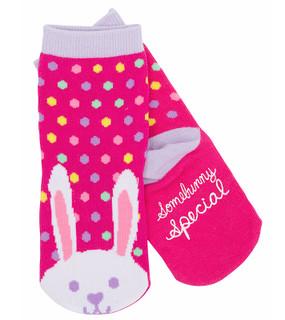 kids animal bunny rabbit socks polka dot pink purple stocking stuffer little girl non skid sole warm easter goodies