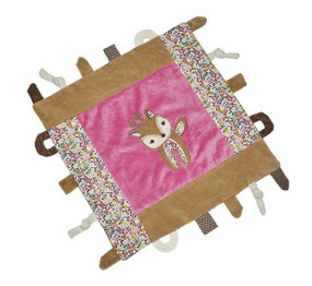 fawn multifunction sensory teething travel security blanket great gift for baby shower tabs pink colorful