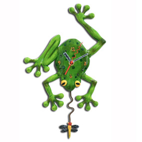 frog wall clock,allen designs, michelle allen, cute clocks, whimsical clock