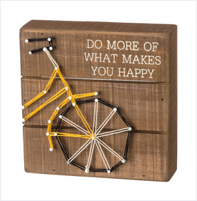stitch art,art,yellow,bicycle,happiness,do what makes you happy,inspirational