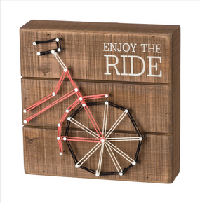 stitch art,bicycle,red,enjoy the ride,inspirational