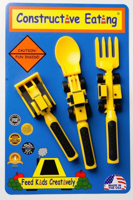 constructive eating dinner set bulldozer kid friendly eating utensil fork spoon