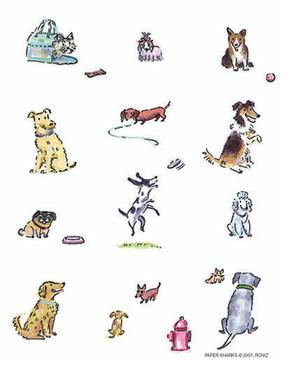 flour sack towel, dogs, charming, cute
