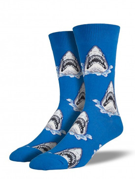 sharks, shark attack, socks, mens socks