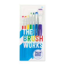art supplies, erasers, pencils, markers, paint, brushes