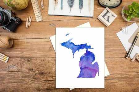 card, michigan, watercolor, art