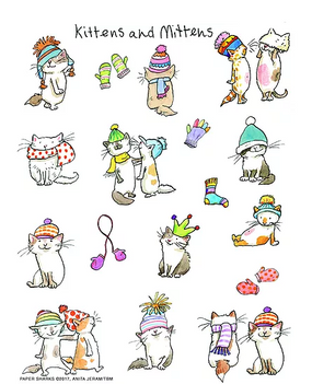 flour sack towel, kittens, mittens, charming