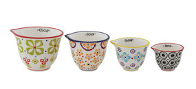 handmade, hand painted, stoneware, measuring cups, kitchen accessories