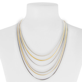 necklace, jewelry, layered, silver, gold