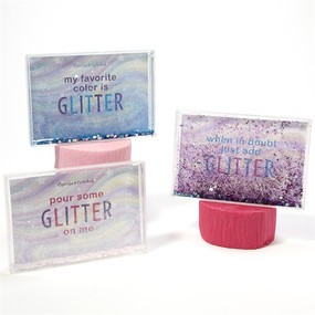 Light up your room with this sweet frame, packed with glitter! Note: comes in light pink, purple, and aqua. Will ship at random.