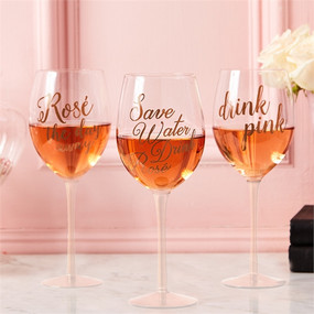 Drink Pink Wine Glass with Rose Gold Lettering in Gift Box Assorted 3 Sayings: Save Water Drink Rosé, Drink Pink, Rosé The Day Away (hand wash only) - Glass