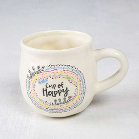 coffee mug, tea mug, ceramic, happy, smiley face, double sided, natural life. 4 in H x 3.75in D, 16oz.