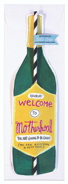 Card Welcome To Motherhood Wine Bottle