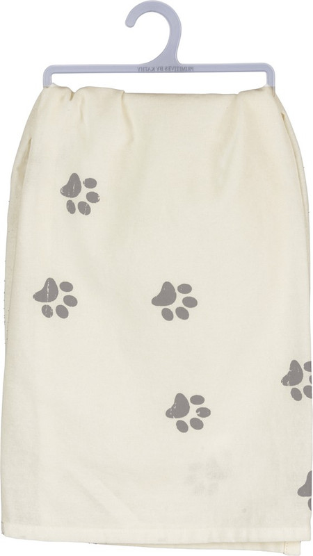 """A cotton dish towel lending a distressed """"My Kids Have Paws"""" hand lettered sentiment with paw print designs. Complements well with coordinating design pieces for a thoughtful gift set. Machine-washable."""