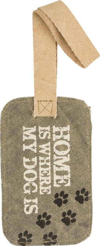 """Durable canvas luggage tag featuring a slip knot loop, clear vinyl window slot for written information, paw print designs, raw edge trim, and distressed """"Home Is Where My Dog Is"""" sentiment."""