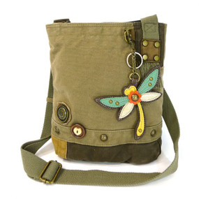 olive dragonfly patch crossbody canvas bag, purse, handbag, canvas, whimsical, travel, key fob, made by chala
