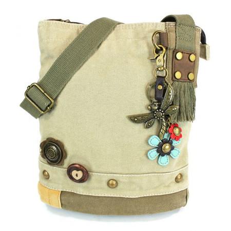 sand metal dragonfly patch crossbody canvas bag, purse, handbag, canvas, whimsical, travel, key fob, made by chala