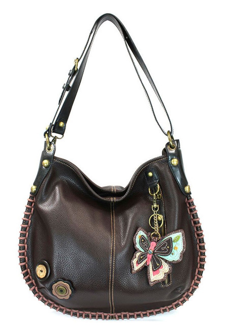 dark brown butterfly hobo purse, whimsical, key fob, hearty, faux leather, made by Chala