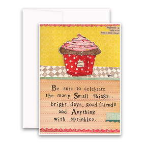 "Embrace the magic of small moments with Curly Girl! Colorful collage art and hand-stamped wisdom make every piece a work of art that happens to be a super handy, post-perfect greeting card! ""Be sure to celebrate the many small things…bright days, good friends, and anything with sprinkles"" Small words: ""happiness is said to be love in little things"" A6 Card (4 1/2″ x 6 1/4″ ) Blank Inside White envelope Poly-Sleeved"