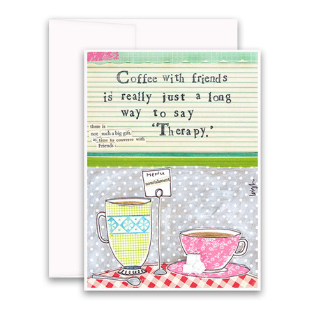 """Embrace the magic of small moments with Curly Girl! Colorful collage art and hand-stamped wisdom make every piece a work of art that happens to be a super handy, post-perfect greeting card! """"Coffee with friends is really just a long way to say 'therapy'"""" Small words: """"there is not such a big gift as time to converse with friends"""" A6 Card (4 1/2″ x 6 1/4″ ) Blank Inside White envelope Poly-Sleeved"""