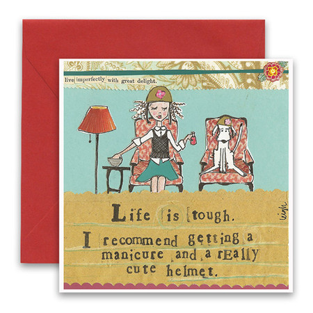 "Embrace the magic of small moments with Curly Girl! Colorful collage art and hand-stamped wisdom make every piece a work of art that happens to be a super handy, post-perfect greeting card! ""Life is tough. I recommend getting a manicure and a really cute helmet"" Small words: ""live imperfectly with great delight"" 5.5"" Square Card* Blank Inside Colored Envelope* Poly-sleeved"