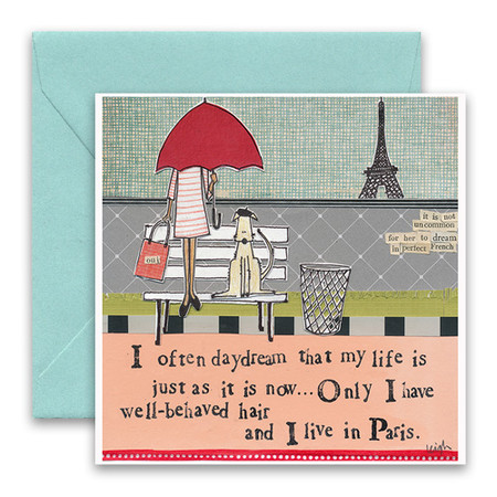 """Embrace the magic of small moments with Curly Girl! Colorful collage art and hand-stamped wisdom make every piece a work of art that happens to be a super handy, post-perfect greeting card!""""I often daydream that my life is just as it is now…only I have well-behaved hair and I live in Paris""""Small words: """"it is not uncommon for her to dream in perfect french""""5.5"""" Square Card* Blank Inside Colored Envelope* Poly-sleeved*Square cards may require additional postage *Envelope color may vary"""