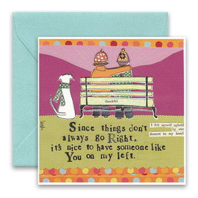 "Embrace the magic of small moments with Curly Girl! Colorful collage art and hand-stamped wisdom make every piece a work of art that happens to be a super handy, post-perfect greeting card!""Since things don't always go right, it's nice to have someone like you on my left""Small words: ""I felt myself upheld by one dearest to my heart""5.5"" Square Card* Blank Inside Colored Envelope* Poly-sleeved*Square cards may require additional postage *Envelope color may vary"