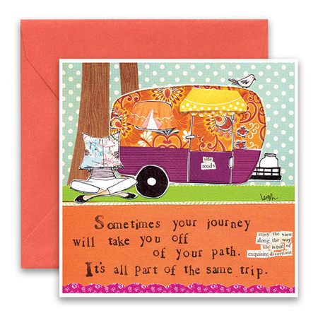 """Embrace the magic of small moments with Curly Girl! Colorful collage art and hand-stamped wisdom make every piece a work of art that happens to be a super handy, post-perfect greeting card!""""Sometimes your journey will take you off of your path. It's all part of the same trip""""Small words: """"enjoy the view along the way, life is full of exquisite diversions""""5.5"""" Square Card* Blank Inside Colored Envelope* Poly-sleeved*Square cards may require additional postage *Envelope color may vary"""